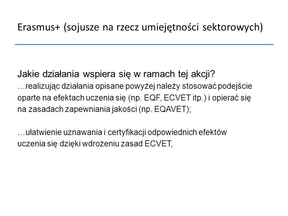 Erasmus+ (sojusze na rzecz umiejętności sektorowych) Jakie działania wspiera się w ramach tej akcji? …realizując działania opisane powyżej należy stos
