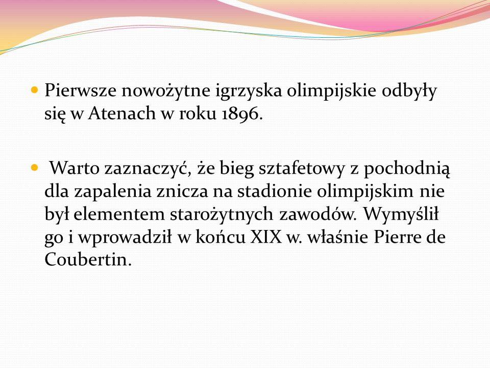 Pierwsze nowożytne igrzyska olimpijskie odbyły się w Atenach w roku 1896. Warto zaznaczyć, że bieg sztafetowy z pochodnią dla zapalenia znicza na stad
