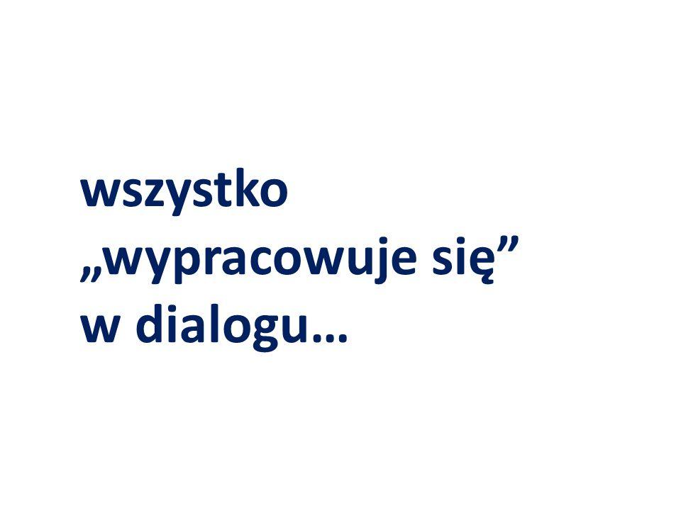 """wszystko """"wypracowuje się"""" w dialogu…"""