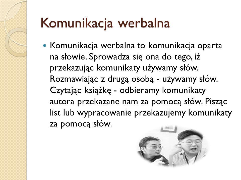 Komunikacja werbalna Komunikacja werbalna to komunikacja oparta na słowie. Sprowadza się ona do tego, iż przekazując komunikaty używamy słów. Rozmawia