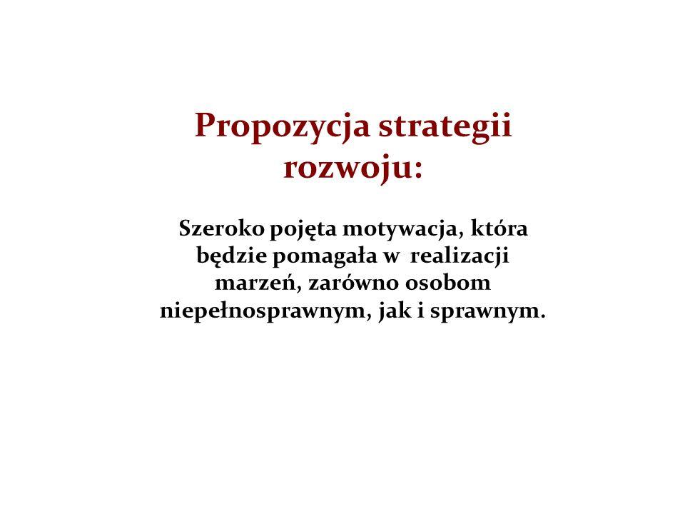 Propozycja strategii rozwoju: Szeroko pojęta motywacja, która będzie pomagała w realizacji marzeń, zarówno osobom niepełnosprawnym, jak i sprawnym.