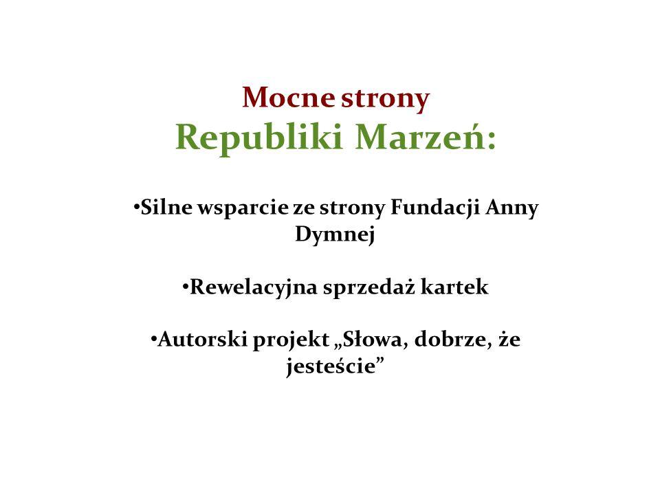 """Mocne strony Republiki Marzeń: Silne wsparcie ze strony Fundacji Anny Dymnej Rewelacyjna sprzedaż kartek Autorski projekt """"Słowa, dobrze, że jesteście"""