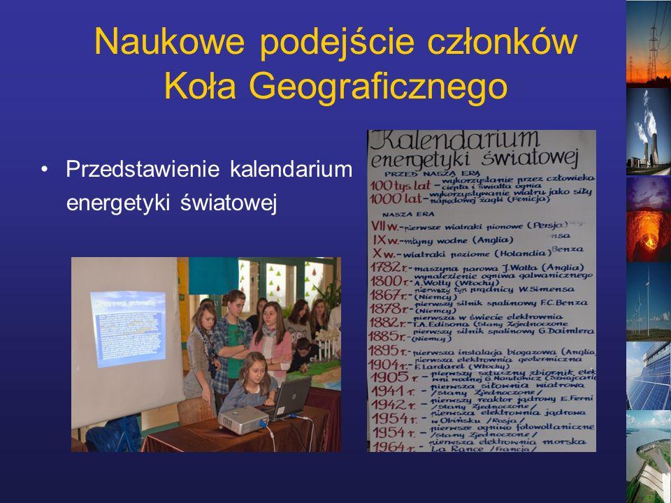 Naukowe podejście członków Koła Geograficznego Przedstawienie kalendarium energetyki światowej