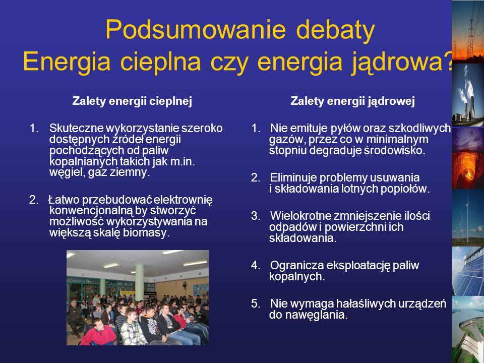 Podsumowanie debaty Energia cieplna czy energia jądrowa.