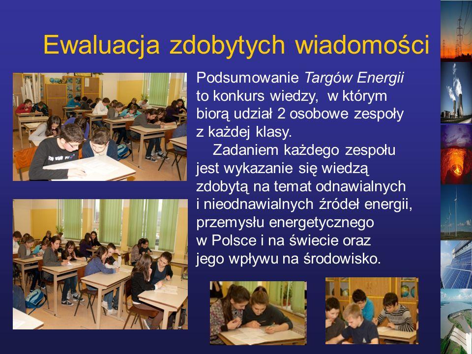 Ewaluacja zdobytych wiadomości Podsumowanie Targów Energii to konkurs wiedzy, w którym biorą udział 2 osobowe zespoły z każdej klasy.