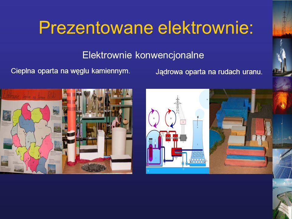 Prezentowane elektrownie: Elektrownie konwencjonalne Cieplna oparta na węglu kamiennym.