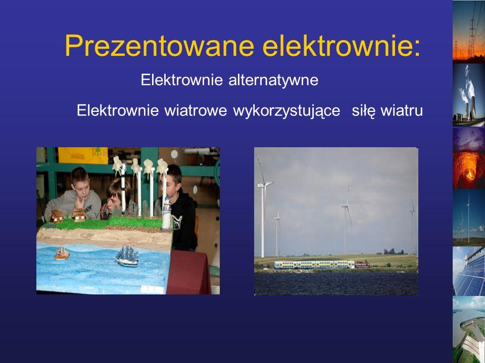 Prezentowane elektrownie: Elektrownie wiatrowe wykorzystujące siłę wiatru Elektrownie alternatywne