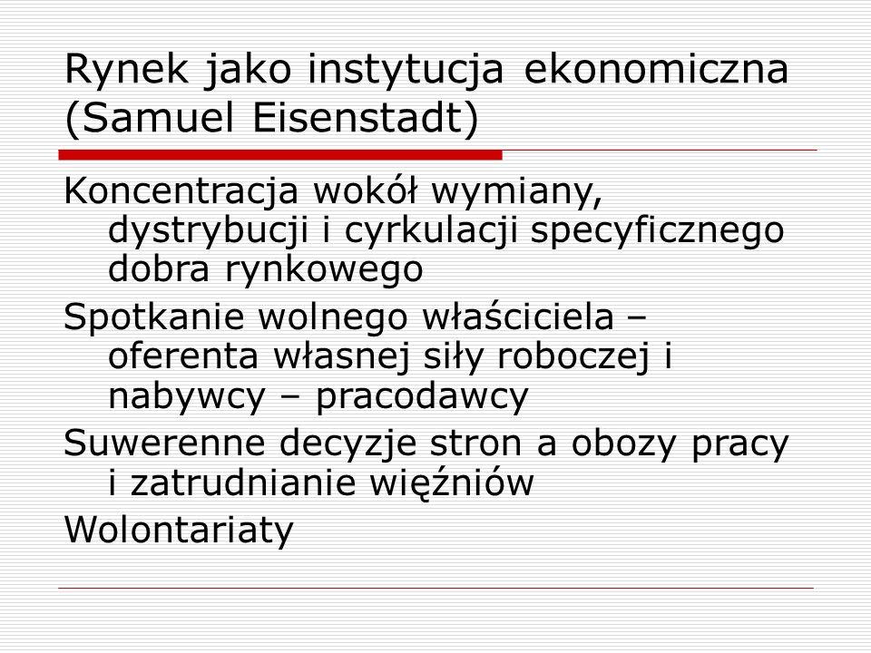 Rynek jako instytucja ekonomiczna (Samuel Eisenstadt) Koncentracja wokół wymiany, dystrybucji i cyrkulacji specyficznego dobra rynkowego Spotkanie wol