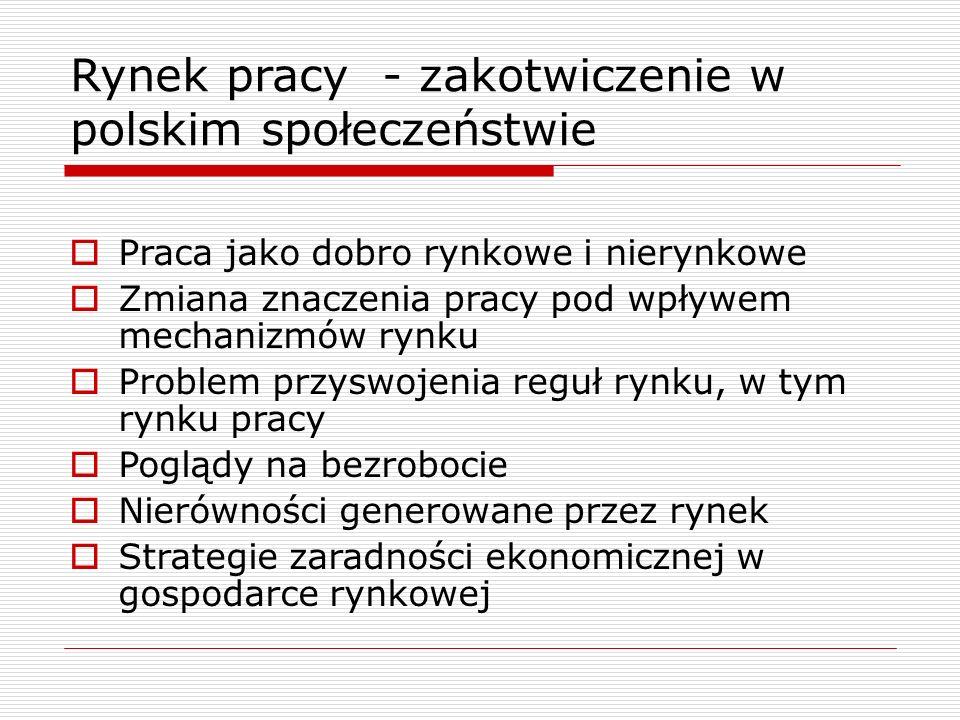 Rynek pracy - zakotwiczenie w polskim społeczeństwie  Praca jako dobro rynkowe i nierynkowe  Zmiana znaczenia pracy pod wpływem mechanizmów rynku 