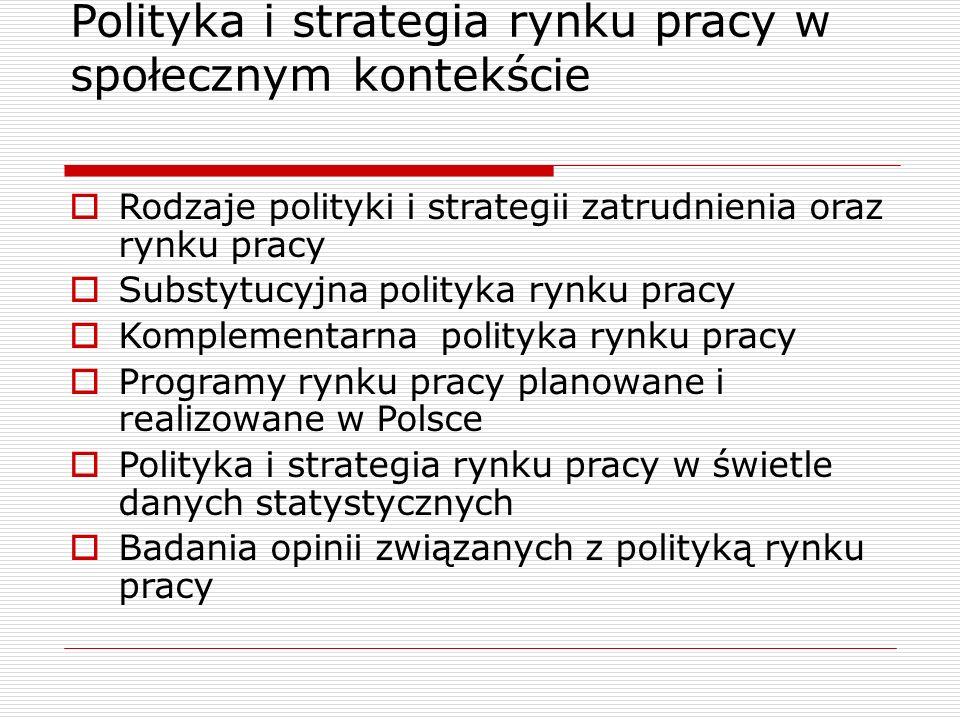 Polityka i strategia rynku pracy w społecznym kontekście  Rodzaje polityki i strategii zatrudnienia oraz rynku pracy  Substytucyjna polityka rynku p