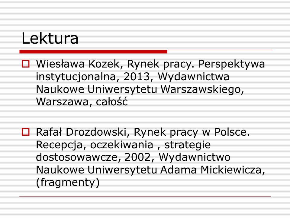 Lektura  Wiesława Kozek, Rynek pracy. Perspektywa instytucjonalna, 2013, Wydawnictwa Naukowe Uniwersytetu Warszawskiego, Warszawa, całość  Rafał Dro
