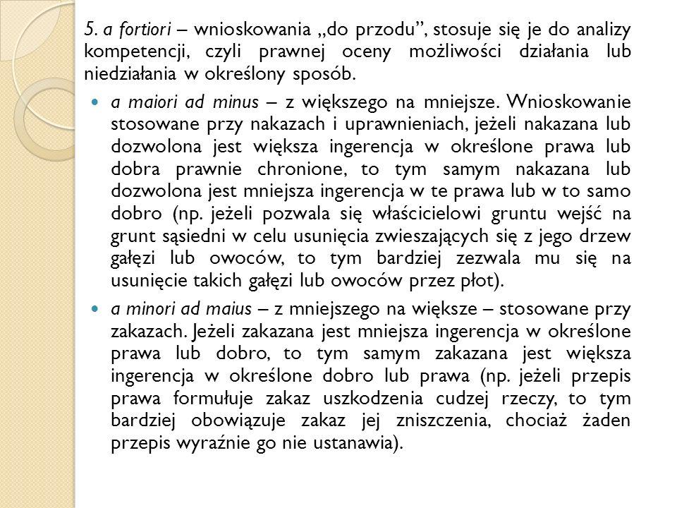 """5. a fortiori – wnioskowania """"do przodu"""", stosuje się je do analizy kompetencji, czyli prawnej oceny możliwości działania lub niedziałania w określony"""