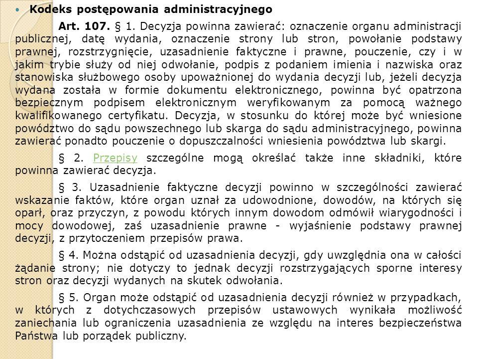Kodeks postępowania administracyjnego Art. 107. § 1.