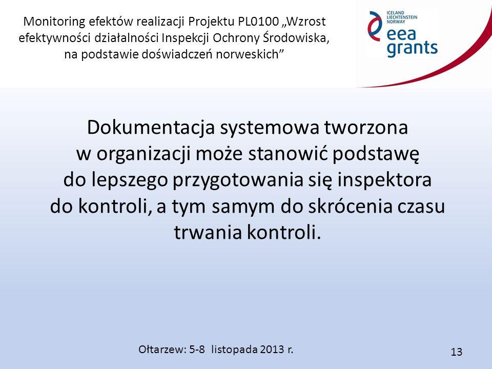 """Monitoring efektów realizacji Projektu PL0100 """"Wzrost efektywności działalności Inspekcji Ochrony Środowiska, na podstawie doświadczeń norweskich Dokumentacja systemowa tworzona w organizacji może stanowić podstawę do lepszego przygotowania się inspektora do kontroli, a tym samym do skrócenia czasu trwania kontroli."""