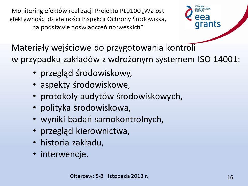 """Monitoring efektów realizacji Projektu PL0100 """"Wzrost efektywności działalności Inspekcji Ochrony Środowiska, na podstawie doświadczeń norweskich Materiały wejściowe do przygotowania kontroli w przypadku zakładów z wdrożonym systemem ISO 14001: Ołtarzew: 5-8 listopada 2013 r."""
