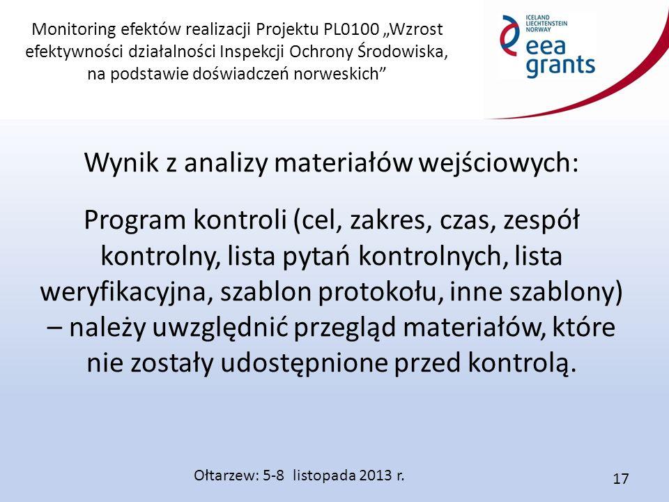 """Monitoring efektów realizacji Projektu PL0100 """"Wzrost efektywności działalności Inspekcji Ochrony Środowiska, na podstawie doświadczeń norweskich"""" Wyn"""