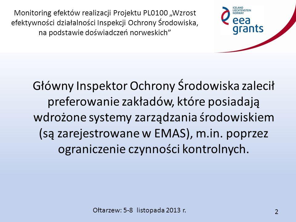 """Monitoring efektów realizacji Projektu PL0100 """"Wzrost efektywności działalności Inspekcji Ochrony Środowiska, na podstawie doświadczeń norweskich"""" Głó"""