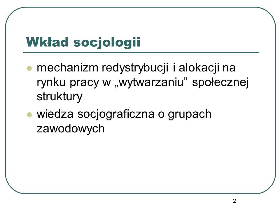 """2 mechanizm redystrybucji i alokacji na rynku pracy w """"wytwarzaniu"""" społecznej struktury wiedza socjograficzna o grupach zawodowych"""