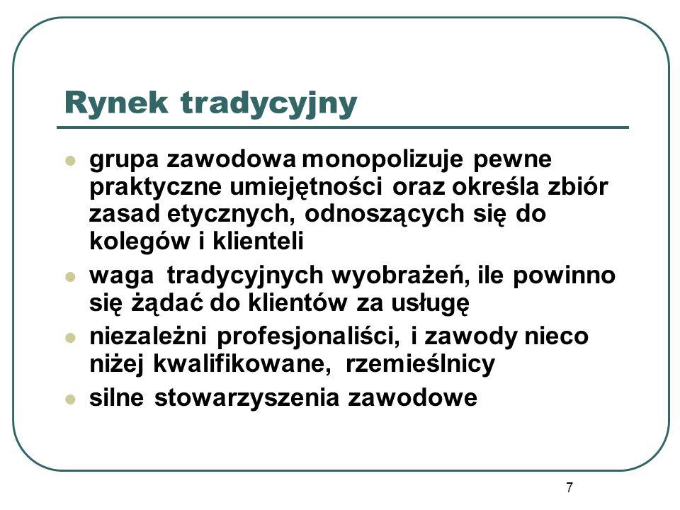 8 Rynek formalnie administrowany Zawody, których funkcjonowanie jest określone przede wszystkim przez przepisy prawne Dynamiczny rozwój administrowanych rynków pracy po II wojnie światowej Sektor publiczny jako lider regulacji Zjawiska deregulacji rynków pracy po roku 1990 w Polsce i na świecie