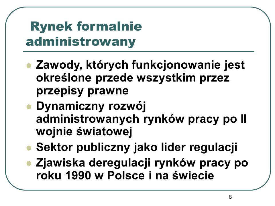 8 Rynek formalnie administrowany Zawody, których funkcjonowanie jest określone przede wszystkim przez przepisy prawne Dynamiczny rozwój administrowany