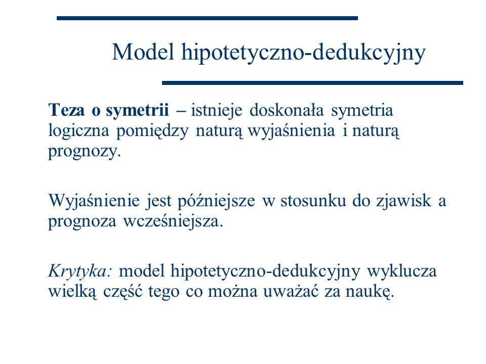 Model hipotetyczno-dedukcyjny Teza o symetrii – istnieje doskonała symetria logiczna pomiędzy naturą wyjaśnienia i naturą prognozy. Wyjaśnienie jest p