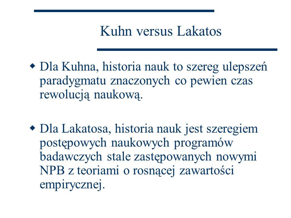 Kuhn versus Lakatos  Dla Kuhna, historia nauk to szereg ulepszeń paradygmatu znaczonych co pewien czas rewolucją naukową.  Dla Lakatosa, historia na