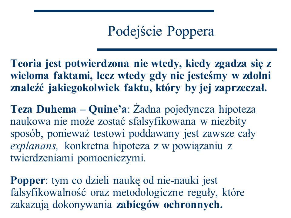 Podejście Poppera Teoria jest potwierdzona nie wtedy, kiedy zgadza się z wieloma faktami, lecz wtedy gdy nie jesteśmy w zdolni znaleźć jakiegokolwiek