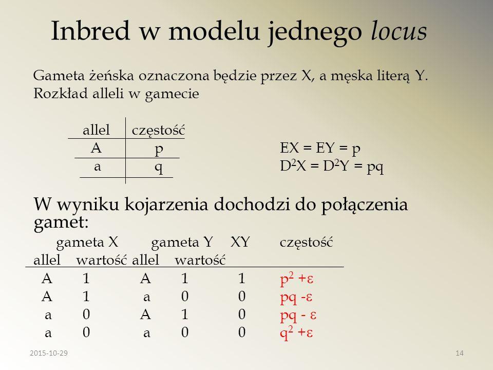 Inbred w modelu jednego locus Gameta żeńska oznaczona będzie przez X, a męska literą Y. Rozkład alleli w gamecie allelczęstość A pEX = EY = p a qD 2 X