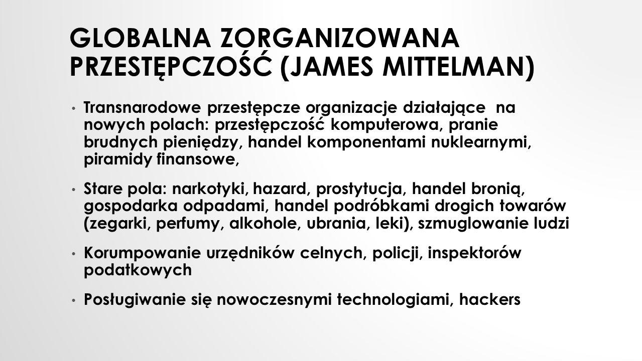 GLOBALNA ZORGANIZOWANA PRZESTĘPCZOŚĆ (JAMES MITTELMAN) Transnarodowe przestępcze organizacje działające na nowych polach: przestępczość komputerowa, p