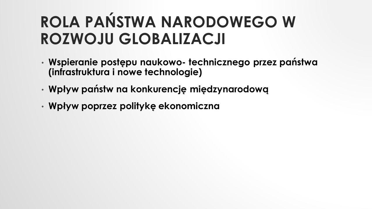 ROLA PAŃSTWA NARODOWEGO W ROZWOJU GLOBALIZACJI Wspieranie postępu naukowo- technicznego przez państwa (infrastruktura i nowe technologie) Wpływ państw