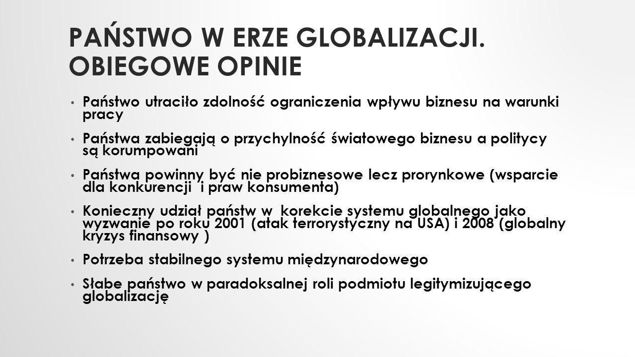HIPOTEZA: PAŃSTWO POLSKIE POST- SUWERENNE Wprowadzenie reform zgodnych z ideami liberalizmu gospodarczego (plan Balcerowicza/Sachsa Zaproszenie do prywatyzacji wielkiego światowego kapitału Zabieganie o bezpośrednie inwestycje zagraniczne Wyprzedaż banków w obce ręce Programowy brak polityki przemysłowej Otwarcie rynku na import z krajów Unii Europejskiej w latach 1995-2004 Deregulacja rynku pracy