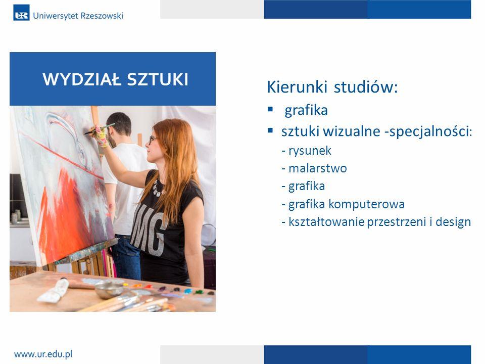 Kierunki studiów:  grafika  sztuki wizualne -specjalności : - rysunek - malarstwo - grafika - grafika komputerowa - kształtowanie przestrzeni i desi