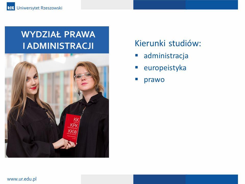 Kierunki studiów:  administracja  europeistyka  prawo WYDZIAŁ PRAWA I ADMINISTRACJI