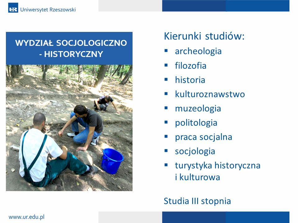 Kierunki studiów:  archeologia  filozofia  historia  kulturoznawstwo  muzeologia  politologia  praca socjalna  socjologia  turystyka historyc