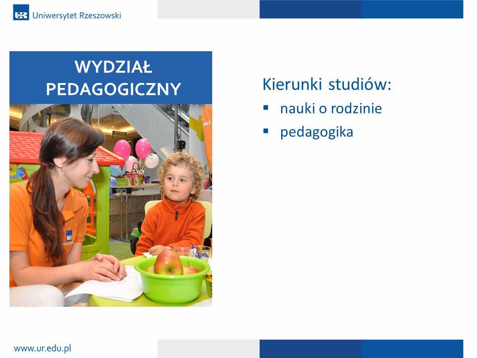 Kierunki studiów:  nauki o rodzinie  pedagogika WYDZIAŁ PEDAGOGICZNY