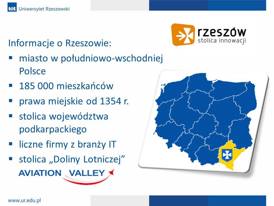 Informacje o Rzeszowie:  miasto w południowo-wschodniej Polsce  185 000 mieszkańców  prawa miejskie od 1354 r.  stolica województwa podkarpackiego