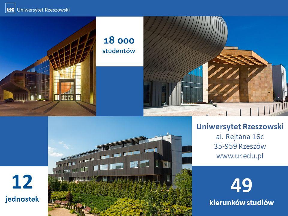 18 000 studentów 12 jednostek 49 kierunków studiów Uniwersytet Rzeszowski al. Rejtana 16c 35-959 Rzeszów www.ur.edu.pl