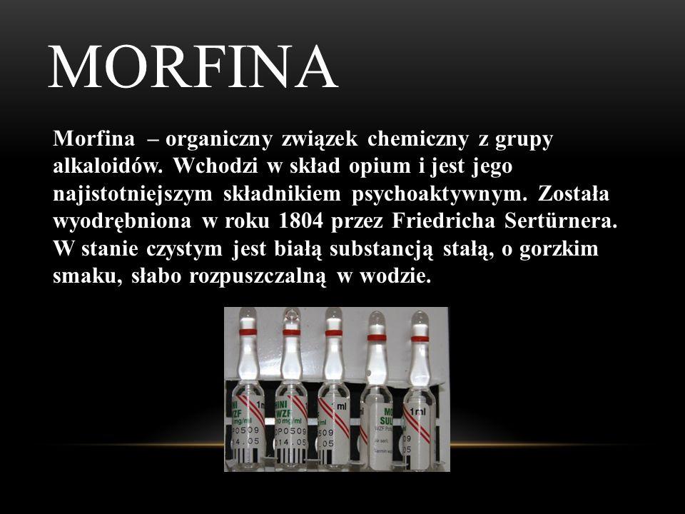 HEROINA Heroina – organiczny związek chemiczny, półsyntetyczny opioid (diacetylowana pochodna morfiny) objęty Jednolitą konwencją o środkach odurzając