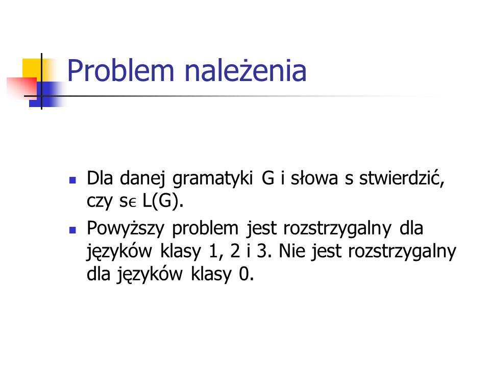 Problem należenia Dla danej gramatyki G i słowa s stwierdzić, czy s L(G). Powyższy problem jest rozstrzygalny dla języków klasy 1, 2 i 3. Nie jest roz