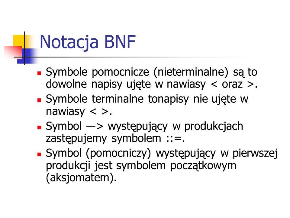 Notacja BNF Symbole pomocnicze (nieterminalne) są to dowolne napisy ujęte w nawiasy. Symbole terminalne tonapisy nie ujęte w nawiasy. Symbol ―> występ