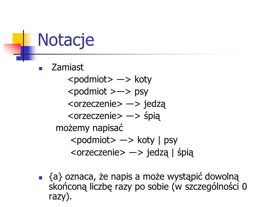 Notacje Zamiast ―> koty ―> psy ―> jedzą ―> śpią możemy napisać ―> koty | psy ―> jedzą | śpią {a} oznaca, że napis a może wystąpić dowolną skońconą lic
