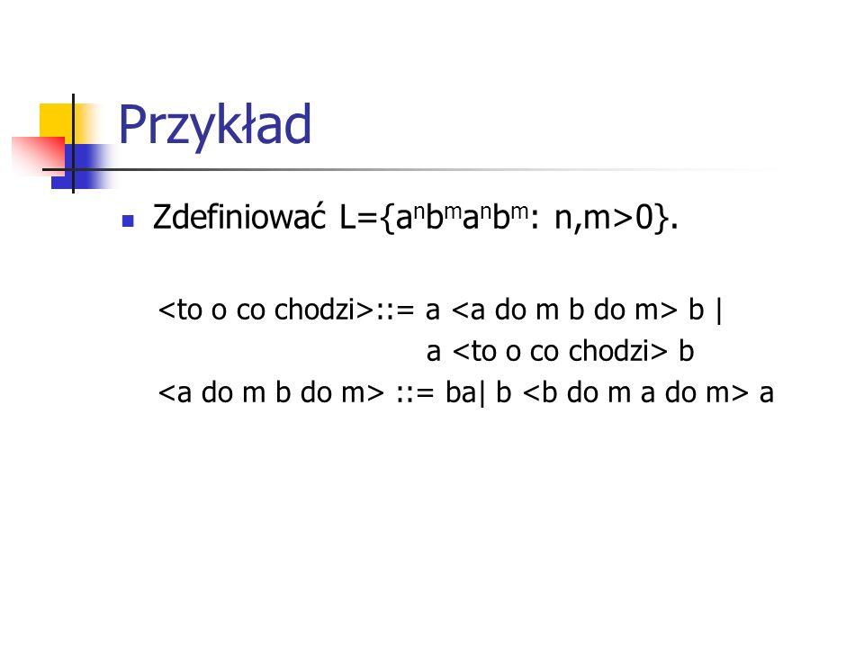 Przykład Zdefiniować L={a n b m a n b m : n,m>0}. ::= a b | a b ::= ba| b a
