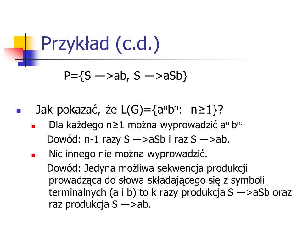Przykład (c.d.) P={S ―>ab, S ―>aSb} Jak pokazać, że L(G)={a n b n : n≥1}? Dla każdego n≥1 można wyprowadzić a n b n. Dowód: n-1 razy S ―>aSb i raz S ―