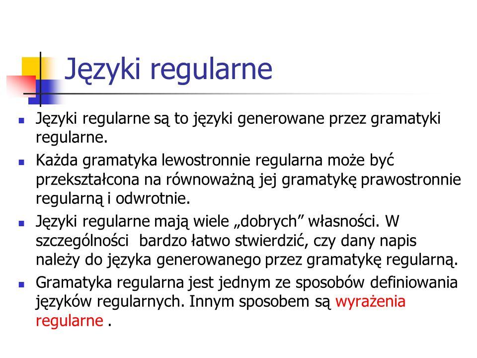 Języki regularne Języki regularne są to języki generowane przez gramatyki regularne. Każda gramatyka lewostronnie regularna może być przekształcona na