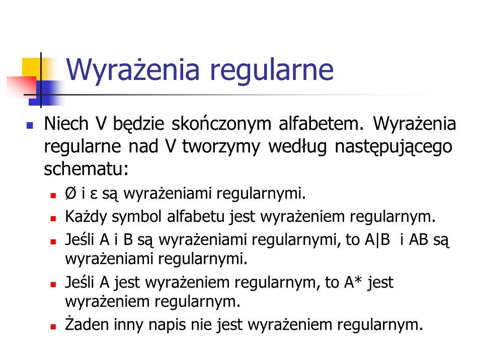 Wyrażenia regularne Niech V będzie skończonym alfabetem. Wyrażenia regularne nad V tworzymy według następującego schematu: Ø i ε są wyrażeniami regula