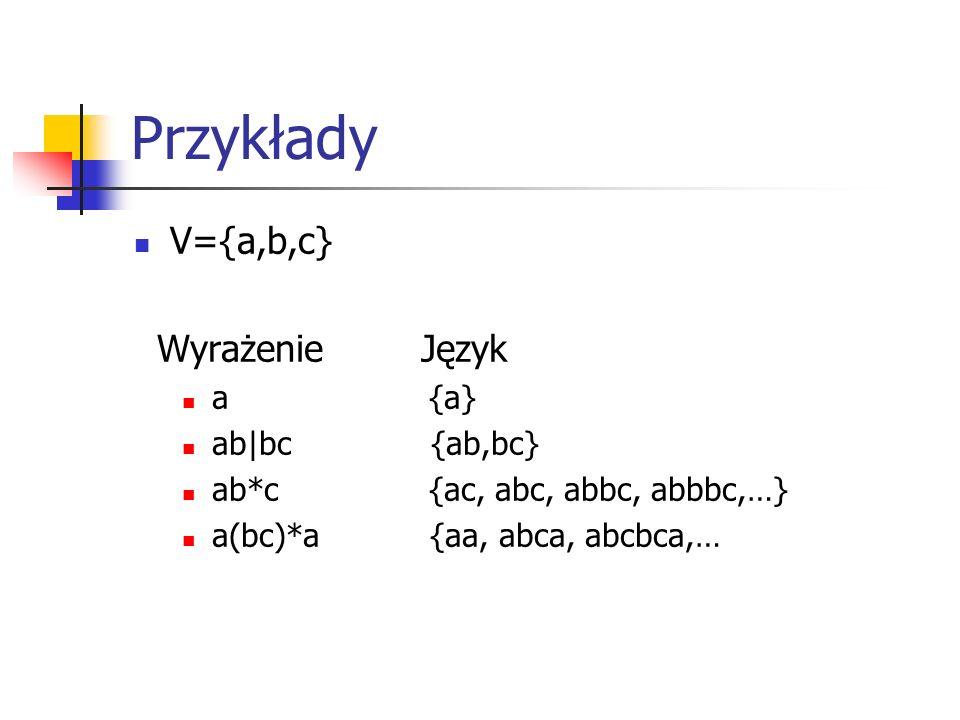 Przykłady V={a,b,c} Wyrażenie Język a {a} ab|bc {ab,bc} ab*c {ac, abc, abbc, abbbc,…} a(bc)*a {aa, abca, abcbca,…