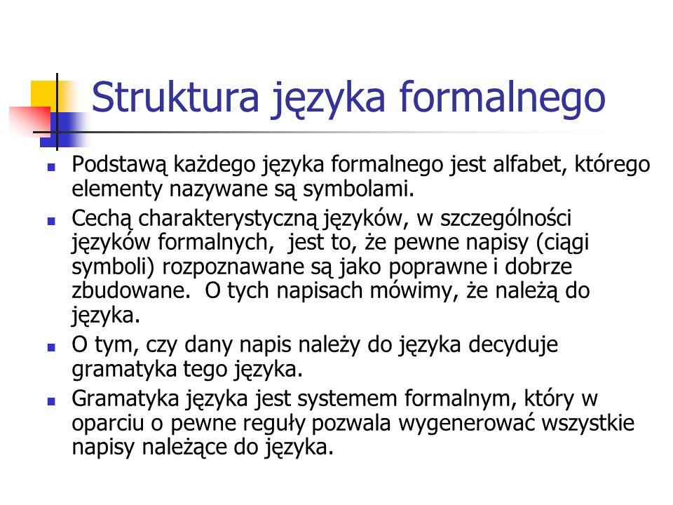 Struktura języka formalnego Podstawą każdego języka formalnego jest alfabet, którego elementy nazywane są symbolami. Cechą charakterystyczną języków,
