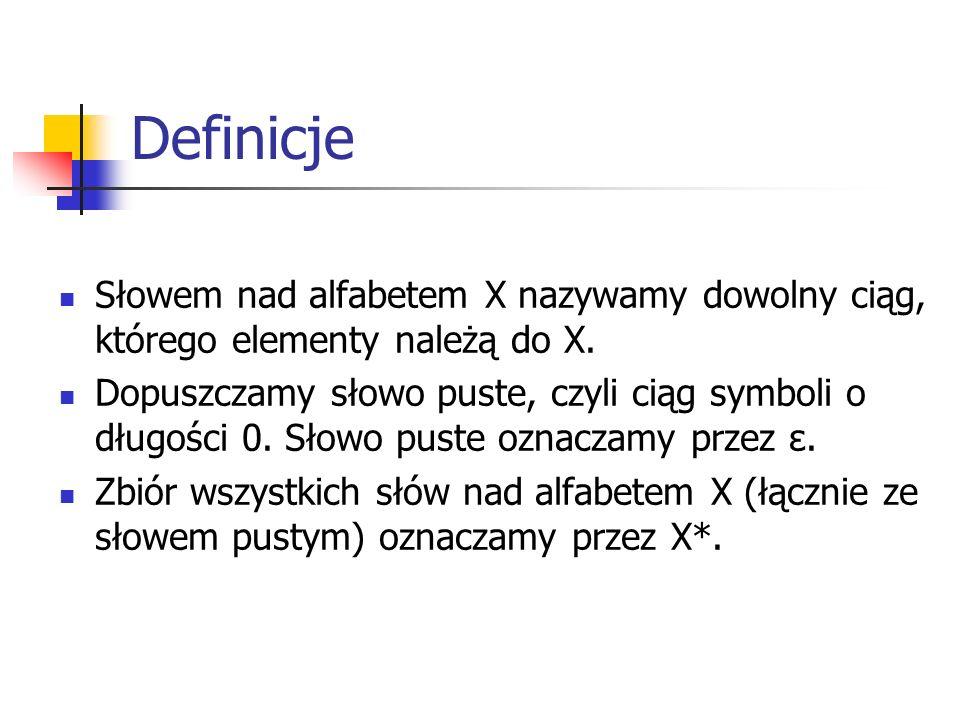 Formalna definicja gramatyki Gramatyką formalną nazywamy czwórkę G=, gdzie T jest niepustym zbiorem symboli końcowych (terminalnych) N jest niepustym zbiorem symboli pomocniczych (nieterminalnych) P jest zbiorem produkcji (reguł) S jest wyróżnionym elementem zbioru N, symbolem początkowym lub aksjomatem.