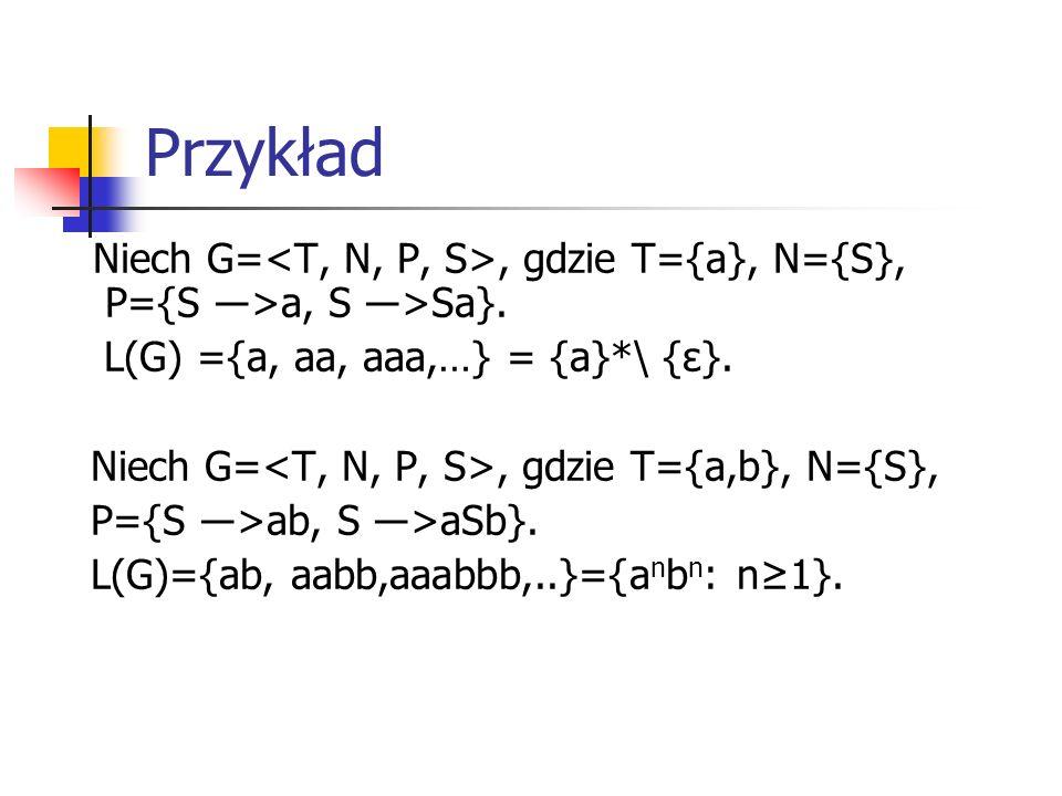 Przykład Niech G=, gdzie T={a}, N={S}, P={S ―>a, S ―>Sa}. L(G) ={a, aa, aaa,…} = {a}*\ {ε}. Niech G=, gdzie T={a,b}, N={S}, P={S ―>ab, S ―>aSb}. L(G)=