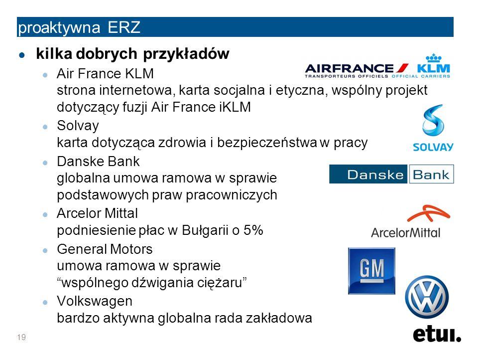 proaktywna ERZ ● kilka dobrych przykładów ● Air France KLM strona internetowa, karta socjalna i etyczna, wspólny projekt dotyczący fuzji Air France iKLM ● Solvay karta dotycząca zdrowia i bezpieczeństwa w pracy ● Danske Bank globalna umowa ramowa w sprawie podstawowych praw pracowniczych ● Arcelor Mittal podniesienie płac w Bułgarii o 5% ● General Motors umowa ramowa w sprawie wspólnego dźwigania ciężaru ● Volkswagen bardzo aktywna globalna rada zakładowa 19